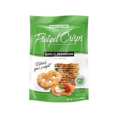 Pretzel Crisps Garlic Parmesan Pretzel Crackers, 14 Ounce -- 12 per case.