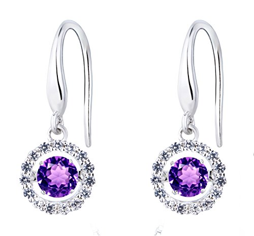 SERAFINA ❤ Dangle Earrings, Amethyst and White Sapphire Halo | Dancing Gemstones | 925 Sterling Silver | Lab Created Dangling Earrings with Halo for ()