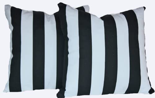 RLF HOME Stripes Black White Pillow, Set of 2