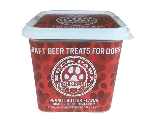 Dog Beer Artisan Dog Treat - Share a Doggy Beer Biscuit w/Your Best Friend - High Protein Peanut Butter Dog Treats, Dog Cookies, Non-Alcoholic & Savory Beer Dog Treats, Dog Party Supplies (12oz)