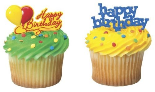 Happy Birthday Cupcake Picks - Birthday Cupcake