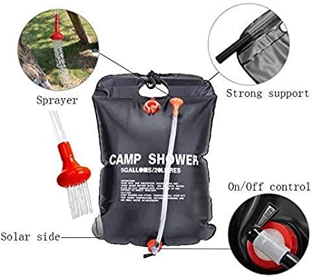 Portable Camping Shower 5 gallons//20L Solar Heating Bag for Outdoor Traveling Hiking Summer Shower with Removable Hose and On-Off Switchable Shower Head ZEUIO Solar Shower Bag