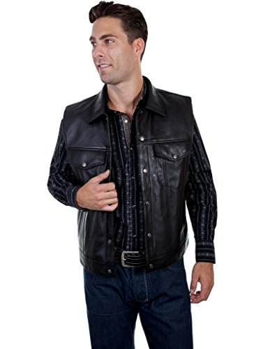 Scully Men's Solid Lamb Leather Moto Vest Black X-Large ()