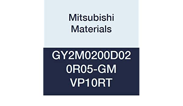 0.079 Grooving Width Mitsubishi Materials GY2M0200D020R05-GM VP10RT Carbide Grooving Insert for Medium Feeds 0.008 Corner Radius Coated Sintered Peripheral Right D Seat Pack of 10