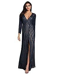 Long Beaded Dress with Front Slit