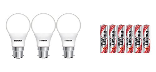 Eveready Base B22D 9 Watt LED Bulb  Pack of 3, Cool Day Light  with Free 6 AAA Alkaline Batteries