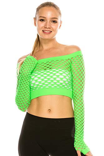 Kurve Stretchy Fishnet Long Sleeve Top, UV Protective Fabric, Rated UPF 50+ (Made with Love in The USA) Neon - Neon Green Fishnet