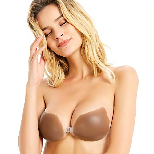 Niidor Adhesive Bra Strapless Sticky Invisible Push up Wing-Shape Silicone Bra