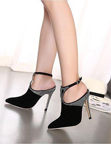 lfnlyx de zapatos de mujer Vellón Tacón Stiletto Tacones/Punta Toe sandalias exterior/Casual Negro Negro - negro