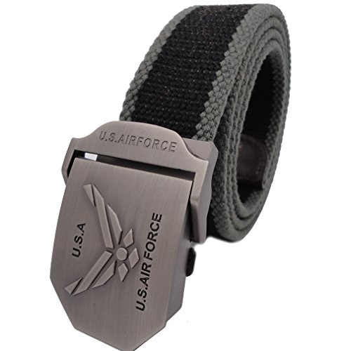 Air Force Belt Buckle (Queyu Men's Tactical Canvas Cotton Belts US Army Air Force Belts Metal Buckle?up to 40