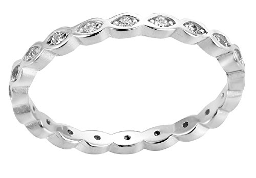 Cubic Zirconia Stackable Endless Eternity Ring Sterling Silver (Color Options, Sizes 3-15) Photo #4