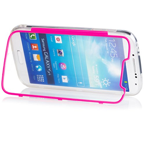 Samsung Galaxy S4 | iCues Transparent Touch TPU Case Pink | Water Resist Full-body Protection Heavy Duty Cover with Built-in Screen Protector [Impact Resistant Bumper]