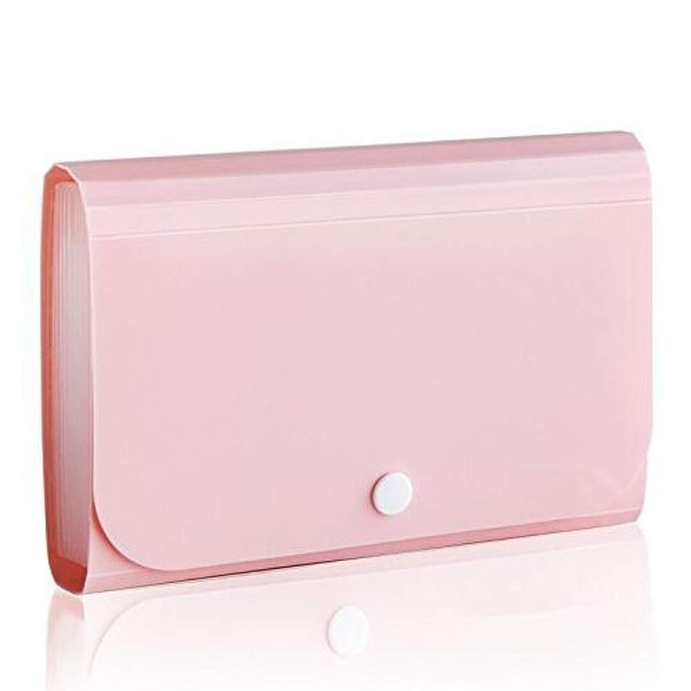 Mini Portable de Expanding File File Pockets fichier pratique Document Portefeuille pour Office Supply Rose