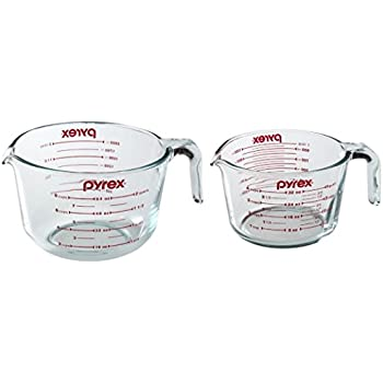 Pyrex Prepware Measuring Cup, Clear with Red Measurements, Duo Set, 1-each 1-Quart and 2-Quart