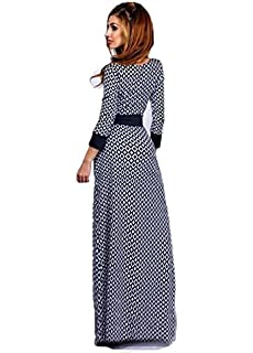 a3a57affbe28d Muslim Long-sleeved Abaya Dress Printing Diamond Checkered Skirt Mopping  Robe Fuz3 Size Xl