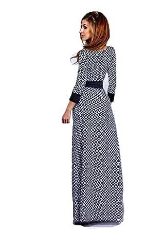 Muslim Long-sleeved Abaya Dress Printing Diamond Checkered Skirt Mopping Robe Fuz3 Size Xl