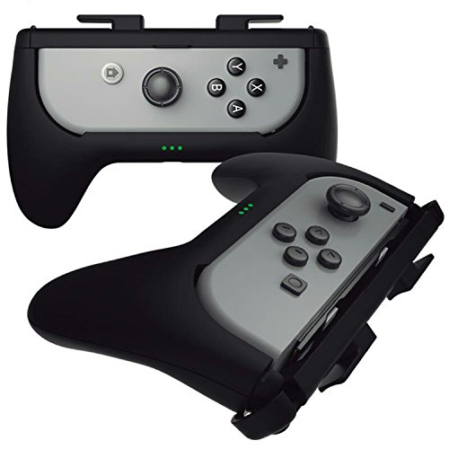 Sliq Nintendo Switch Joy Con Controller Play N Charge Grip Kit (Black) - Built-In 500 mAh Battery Charger. Charge While You Play! Extends Joy-Con life by up to 5 Hours.