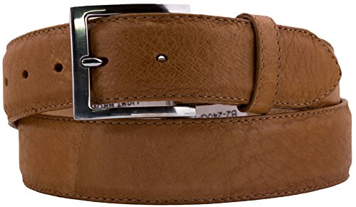 Silver Brown Stingray Leather - Cowboy Professional - Men's Light Brown Real Ostrich Skin Cowboy Belt Silver 36