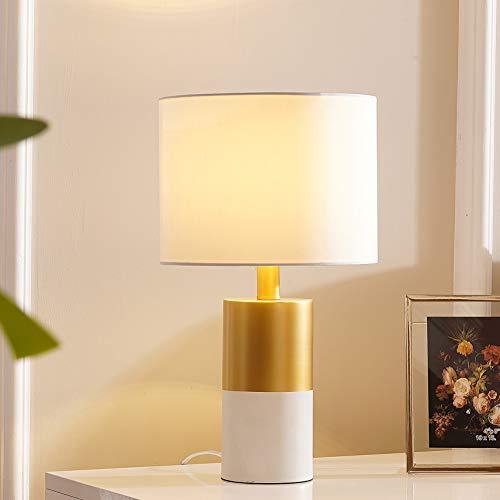 Tayanuc Contemporary Accent Satin Gold Living Room Bedroom Beside Nightstand Table Lamp, Desk Lamps with White Fabric Shade and White Golden Base