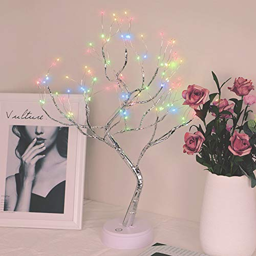 (Qunlight Upgraded Copper Wire Tree Branch Decorative No Heat Lights,USB&Battery Powered,20Inch 108 Multicolor LED,Table Lamp for Home Decoration,Wedding Sign,Living Room,Bedroom Or Bar(Multicolor))