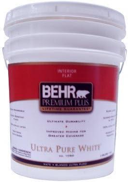 Behr Premium Plus 5 Gal Ultra Pure White Flat Zero Voc Interior Paint Amazon Com