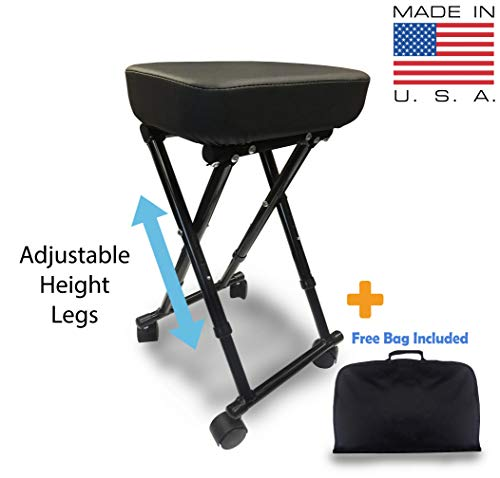 Super Light (Less than 5 Pounds) Foldable Portable Adjustable Rolling Stool – Made in USA + Carrying Bag – Ideal for Salons, Tattoo Shops, Massage Facilities, Spas and Doctor Offices – 300lbs Capacity
