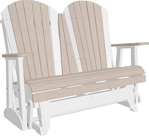 - LuxCraft Poly Recycled Plastic 4' Adirondack Glider Chair, 2 Person Glider Bench - Birch and White