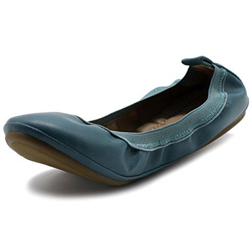 Flat Ballet Blue Shoe Pull Collar Comfort Ollio Shoe Women's Tab 4f08q8