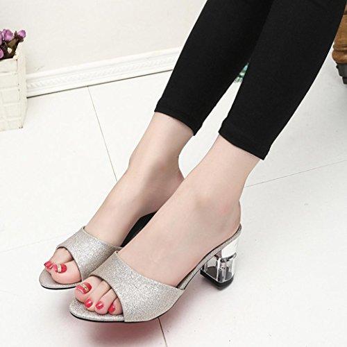 bescita Frauen Mode Sommer Mid Heel Flip Flop Sandalen Slipper Böhmen Schuhe (39, Gold)