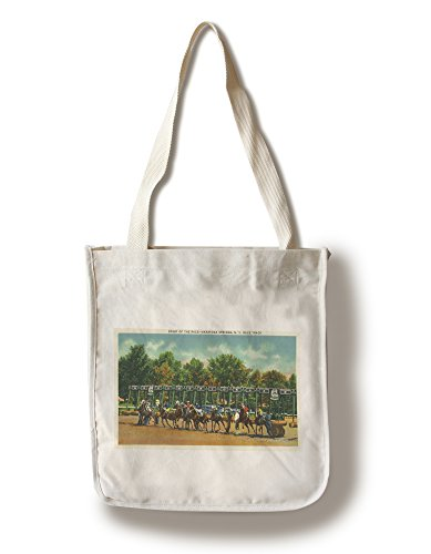 Saratoga Springs, New York - Saratoga Race Track Starting Line View (100% Cotton Tote Bag - Reusable, Gussets, Made in (Saratoga Race)