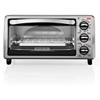BLACK+DECKER TO1313SBD 4-Slice Toaster Oven, Includes...