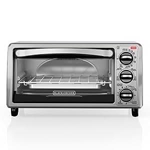 BLACK+DECKER TO1313SBD 4-Slice Toaster Oven, Includes Bake Pan, Broil Rack & Toasting Rack, Black