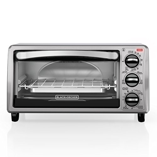 BLACK+DECKER TO1313SBD 4-Slice Toaster Oven, Includes Bake Pan, Broil Rack & Toasting Rack, Stainless Steel/Black Toaster Oven