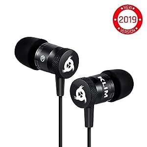 ⭐️KLIM™ Fusion Earphones - Long-lasting Earphone Headphones with Microphone + 5 years Warranty - Perfect for Sports, Travel, Music - Innovative In-Ear Memory Foam - 3.5mm Jack - 2019 Version - Black