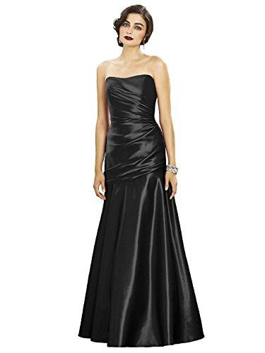 Draped at Full Dress Satin Women w Bodice s Detail Black Matte Length Strapless Dessy ZwqTzxBWp
