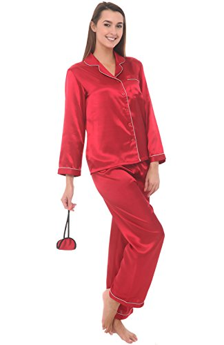 del-rossa-womens-satin-pajamas-long-button-down-pj-set-and-mask-small-apple-a0750aplsm