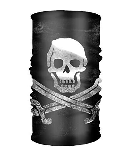 - Skull And Crossbones Flag Head Wrap - Long Hair Scarf Turban Tie