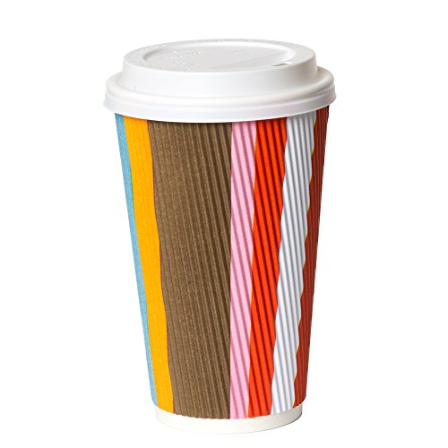 50 Pack - 16 oz To Go Coffee Cups with Lids - Disposable, Insulated & Recyclable Multicolor Ripple Paper Coffee Cups