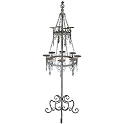 Design Toscano Malbark Castle Gothic Decor Floor Candelabra Candle Holder, 63 Inch, Metalware, Grey Patina