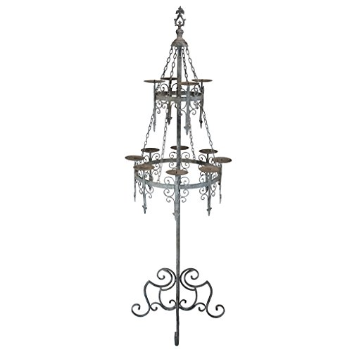 Design Toscano Malbark Castle Gothic Decor Floor Candelabra Candle Holder, 63 Inch, Grey -