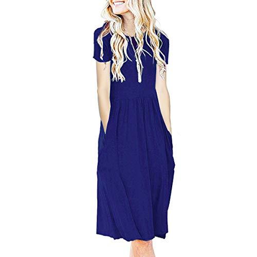 IMBOAZ Women's Short Sleeve Pleated Empire Waist Loose Swing Plain Casual Midi T Shirt Flare Dress with Pockets Royal Blue