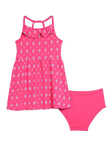 Nautica Baby Girls' Printed Knit Dress with Flounce, Medium Pink, - Knit Flounce