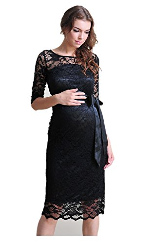 M2B Maternity Evening Dress, Gown, Lace Knee Length,Baby Shower Dress, Party, Wedding, Bridesmaid, Pregnant Maternity Black - Black Dress Bridesmaid Maternity