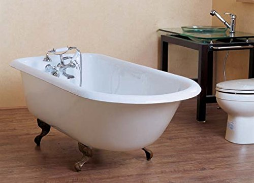 """67"""" roll top cast iron tub with 3-3/8"""" wall holes and chrome feet - """"Irene"""""""