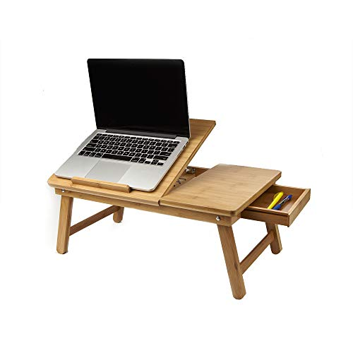 ap Desk Flip Top with Drawer, Foldable Legs, Breakfast Tray, Brown ()