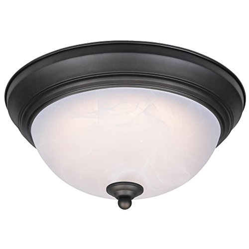 Westinghouse6400600 11-Inch LED Indoor Flush Mount Ceiling Fixture, Oil Rubbed Bronze Finish with White Alabaster Glass White Finish Indoor Ceiling Fixture