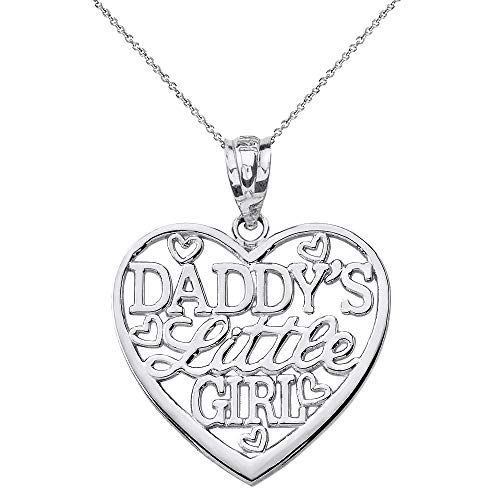 Solid 10k White Gold Heart Charm Daddy's Little Girl Pendant Necklace, 16