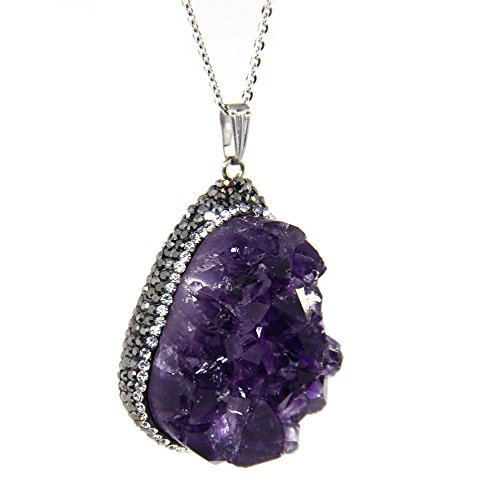 Amandastone Natural Amethyst Geode Crystal Cluster CZ Package Edge Pendant Necklace 21''