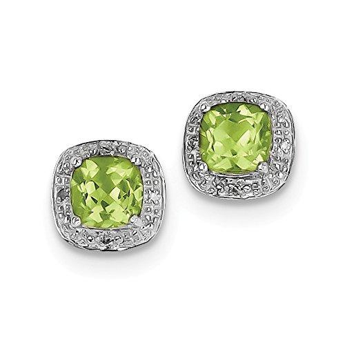 Sterling Silver Rhodium Peridot & Diamond Post Earrings by Jewels By Lux