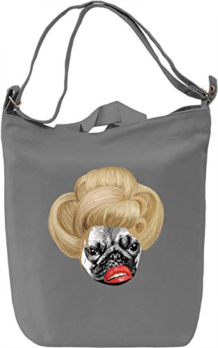 Pug Lady Borsa Giornaliera Canvas Canvas Day Bag| 100% Premium Cotton Canvas| DTG Printing|